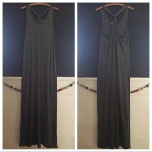 NWOT GAP Gray Crossback Maxi Dress L